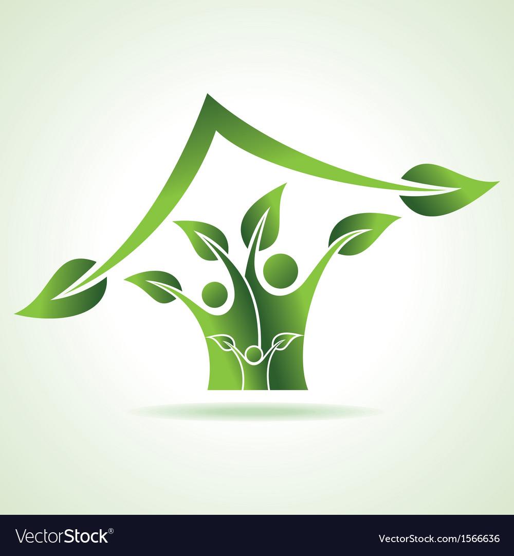 Eco family icon make home vector | Price: 1 Credit (USD $1)