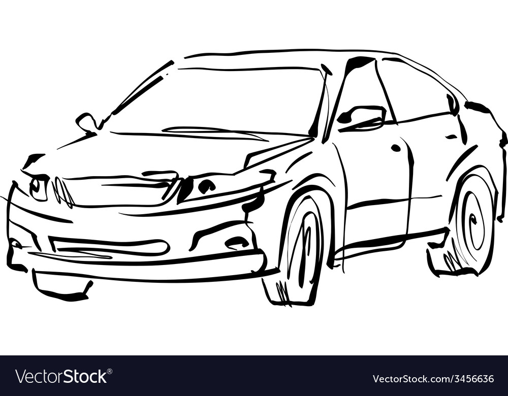 Monochrome hand drawn car on white background vector | Price: 1 Credit (USD $1)