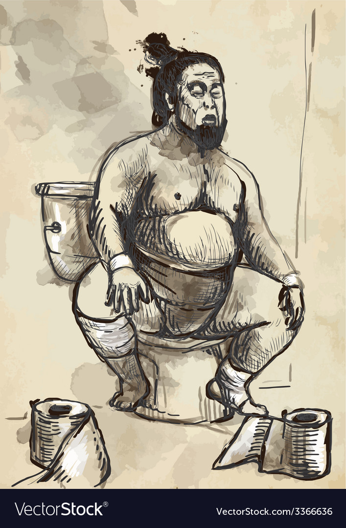 Sumo fighter on the toilet bowl - converted vector | Price: 1 Credit (USD $1)