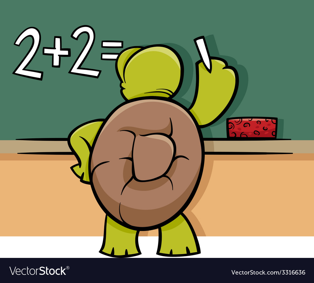 Turtle at blackboard cartoon vector