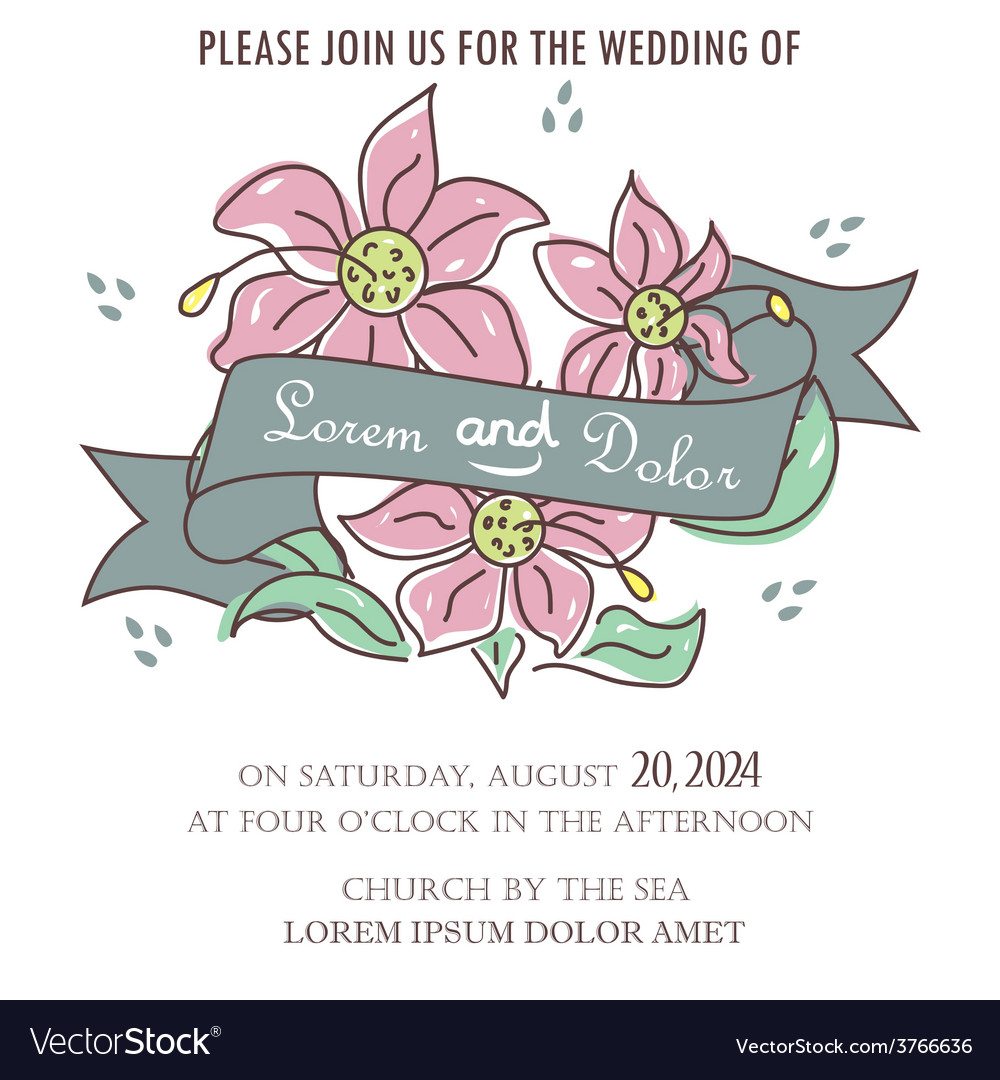 Wedding invitation with ribbon and flowers vector | Price: 1 Credit (USD $1)