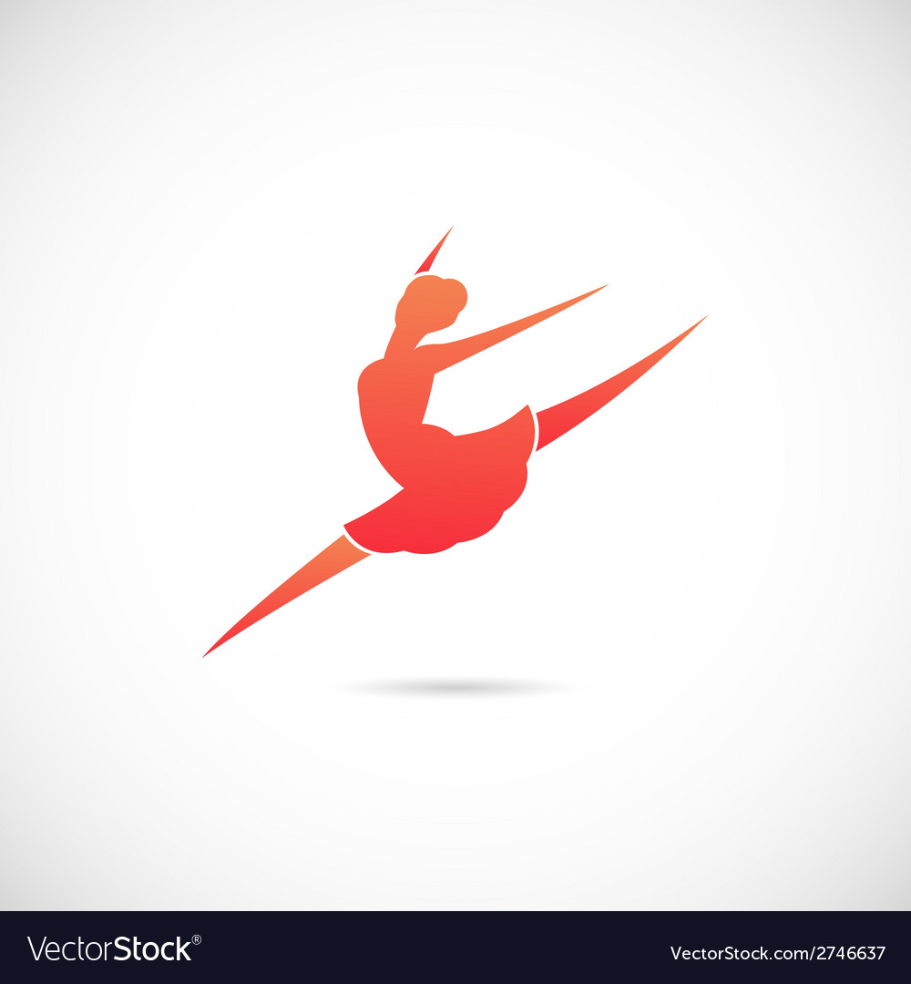 Ballet dancer silhouette symbol icon or label vector | Price: 1 Credit (USD $1)