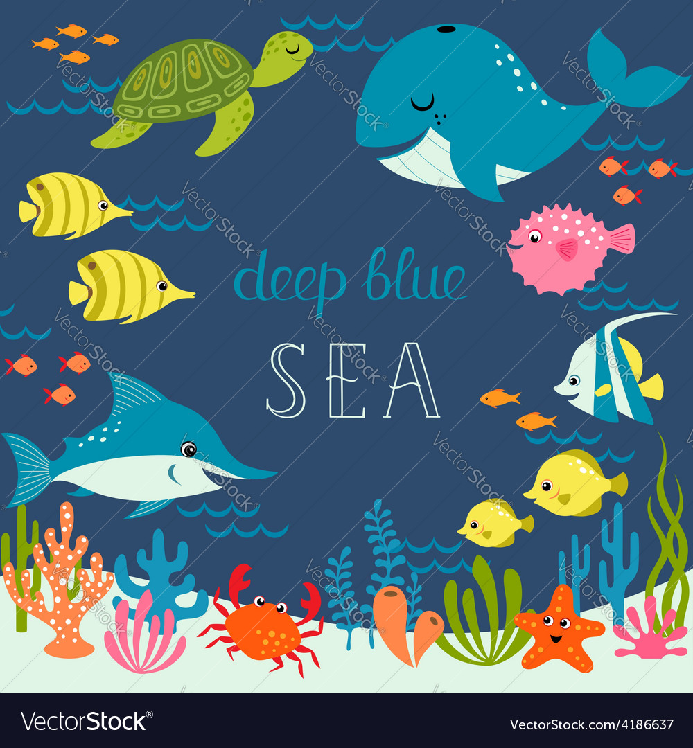 Cute deep blue sea vector | Price: 1 Credit (USD $1)