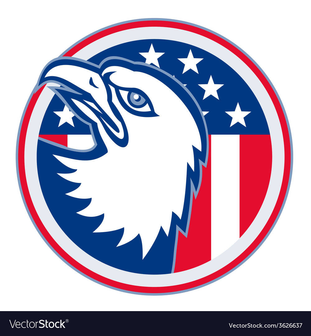 Eagle head american stars stripes flag vector | Price: 1 Credit (USD $1)