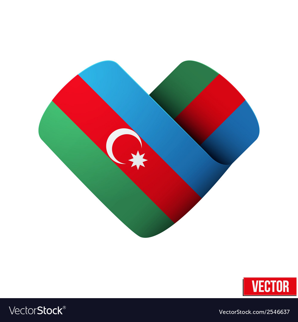 Flag icon in the form of heart i love azerbaijan vector | Price: 1 Credit (USD $1)