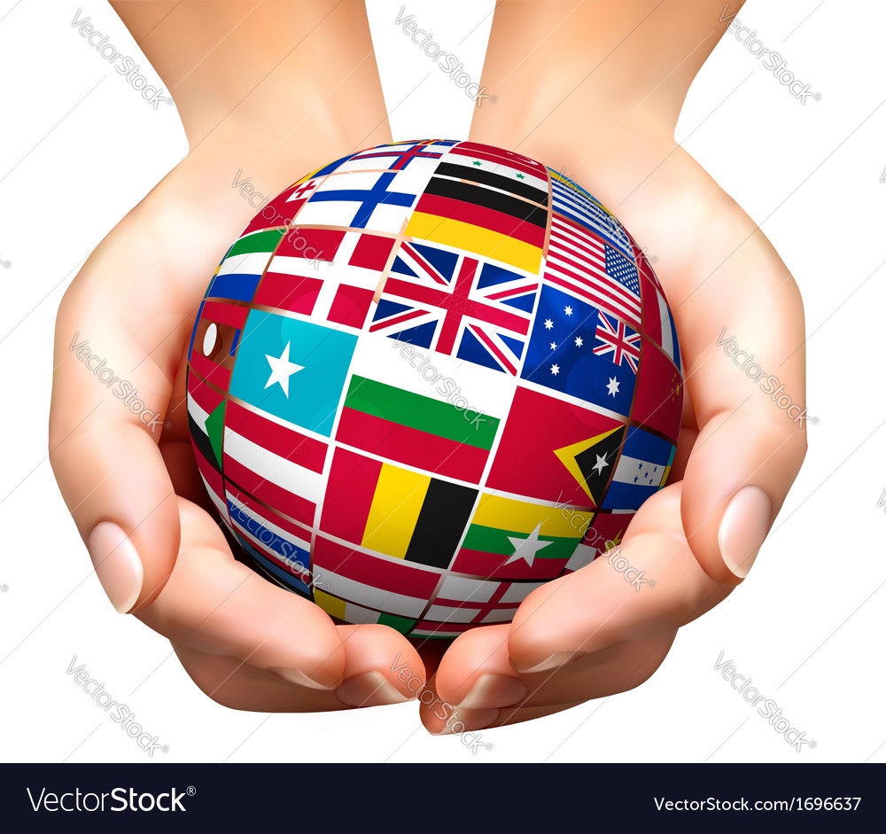 Flags of the world in globe and hands vector | Price: 3 Credit (USD $3)