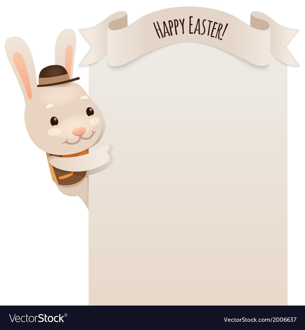 Happy easter bunny looking at blank poster vector | Price: 1 Credit (USD $1)