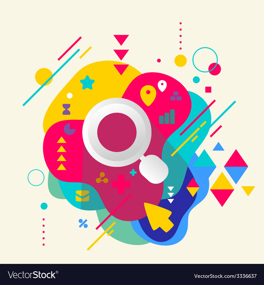 Magnifier on abstract colorful spotted background vector | Price: 3 Credit (USD $3)