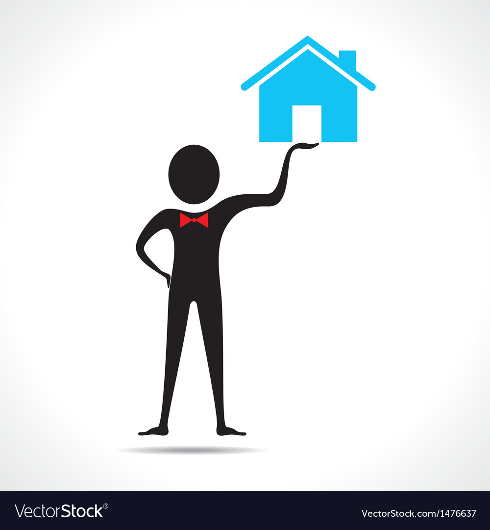 Man holding a home icon vector | Price: 1 Credit (USD $1)