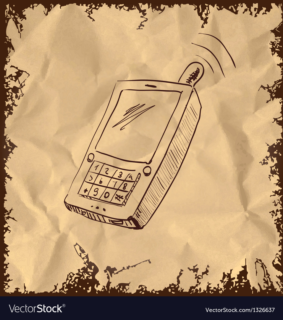 Old mobile phone on vintage background vector | Price: 1 Credit (USD $1)