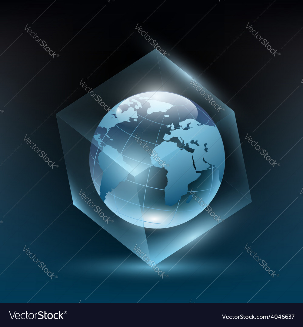 Planet earth in a glass cube vector | Price: 1 Credit (USD $1)