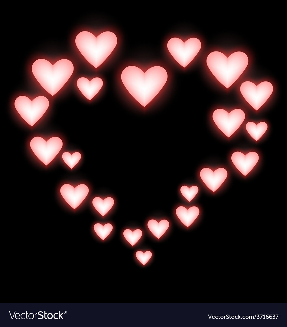 Self-illuminated pink hearts like frame on black vector | Price: 1 Credit (USD $1)