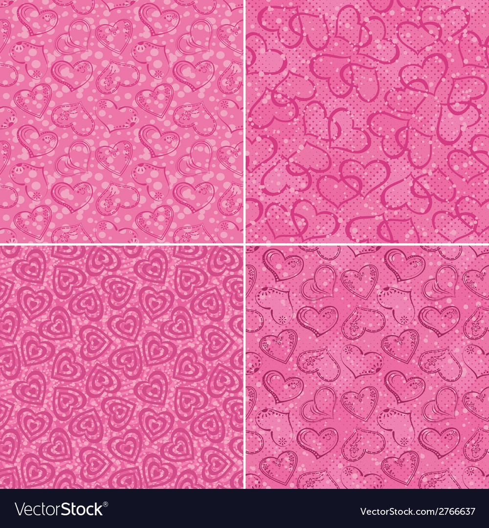 Set of valentine hearts seamless patterns vector | Price: 1 Credit (USD $1)