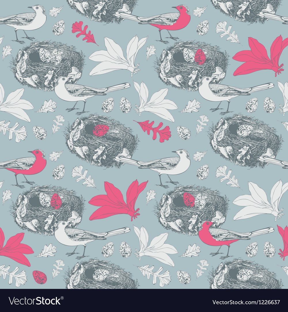 Spring background birds and eggs vector | Price: 1 Credit (USD $1)
