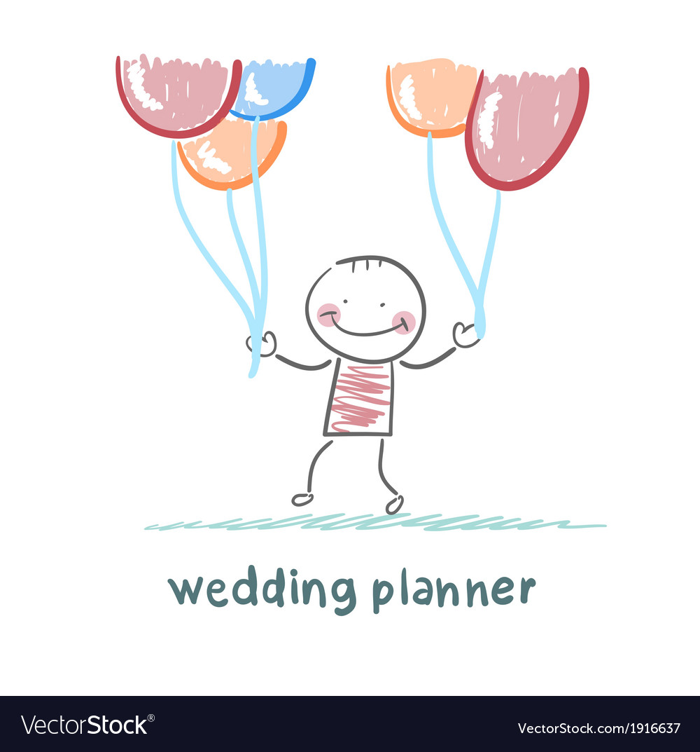 Wedding planner with helium balloons vector | Price: 1 Credit (USD $1)