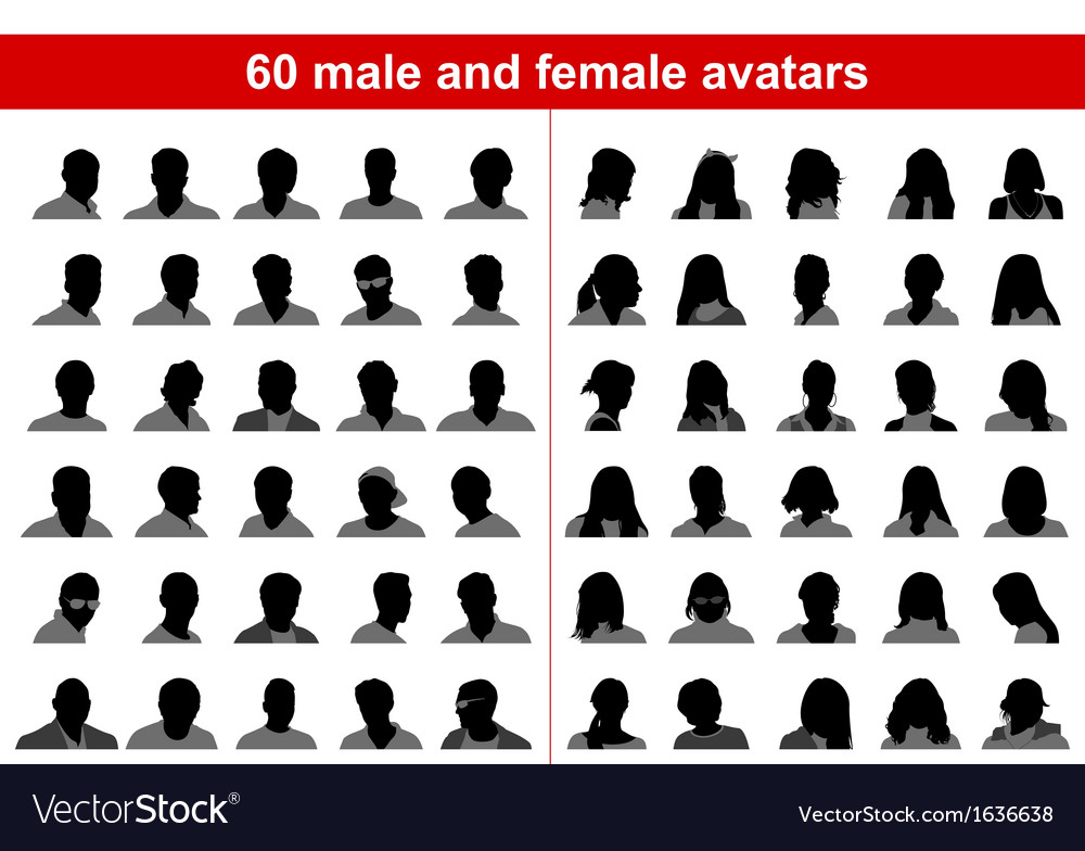 60 male and female avatars vector | Price: 1 Credit (USD $1)