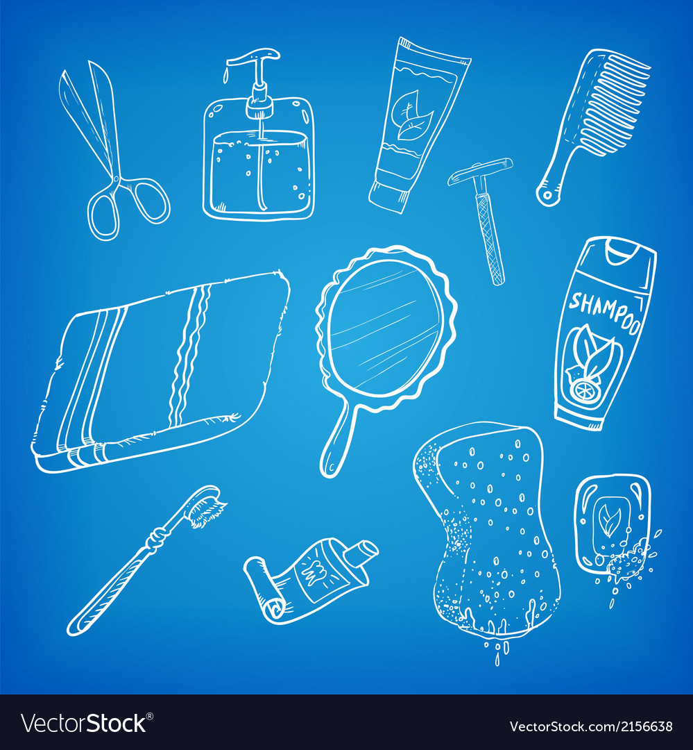 Bathroom stuff sketch vector | Price: 1 Credit (USD $1)