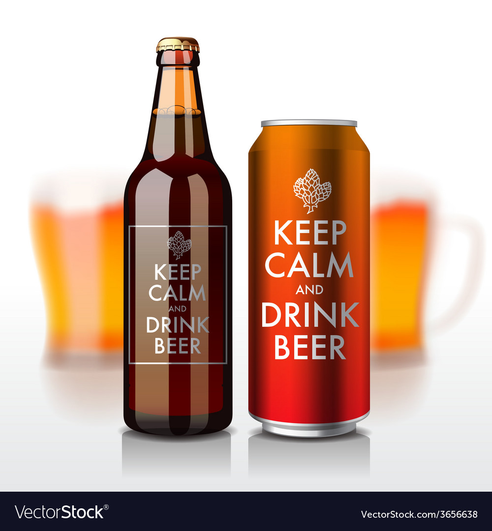 Beer bottle and can with label - keep calm and vector | Price: 3 Credit (USD $3)