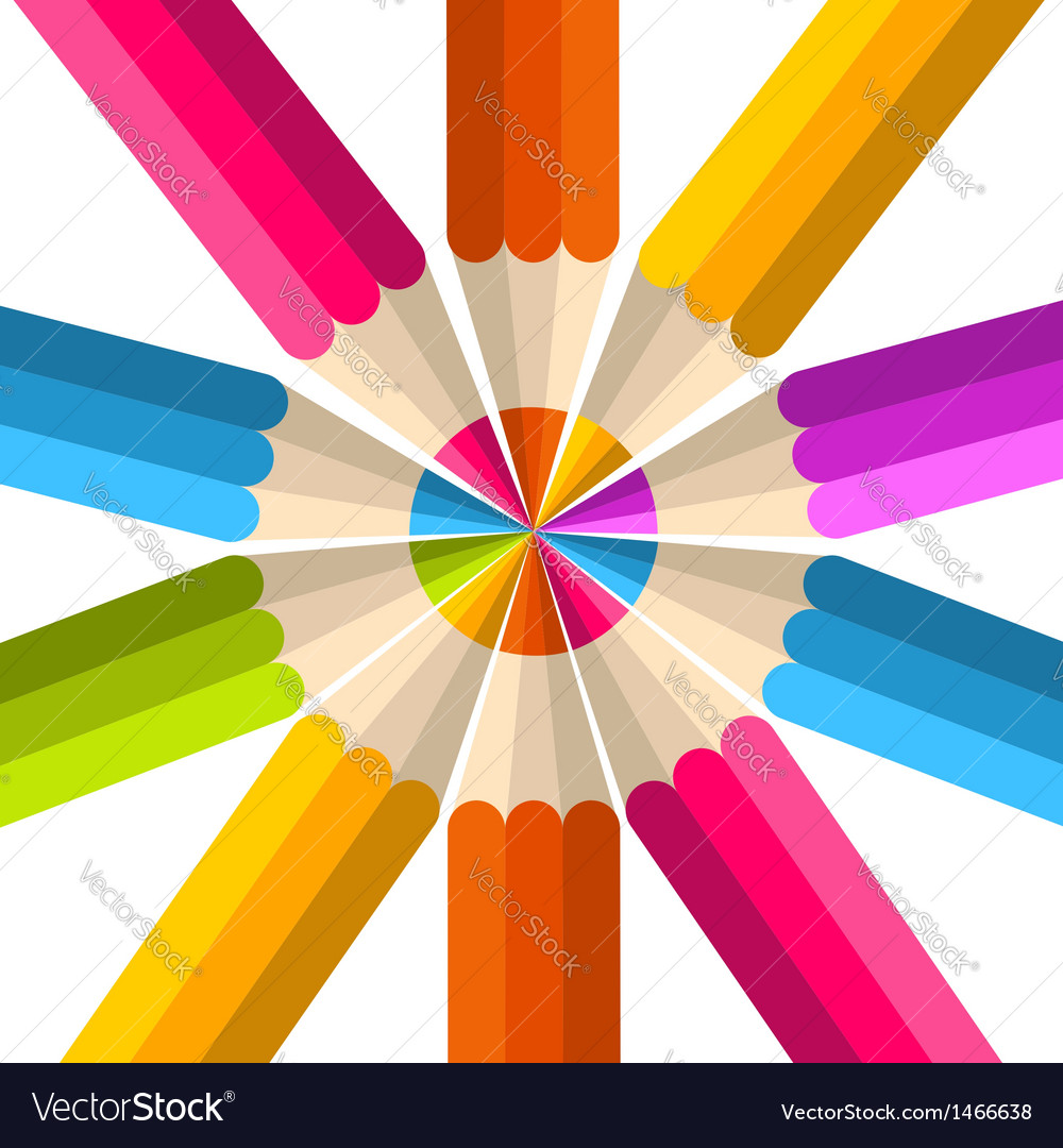 Colorful rainbow pencil circle vector | Price: 1 Credit (USD $1)