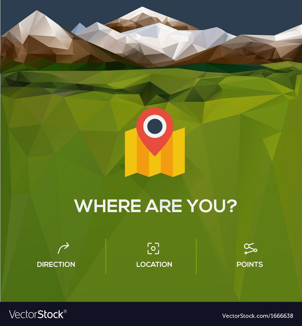 Flat design location icon with pin pointer vector | Price: 1 Credit (USD $1)