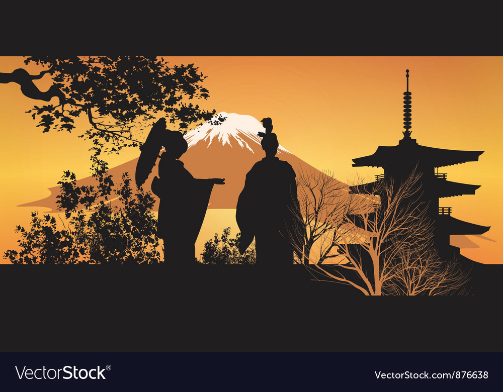 Geisha and pagoda vector | Price: 1 Credit (USD $1)