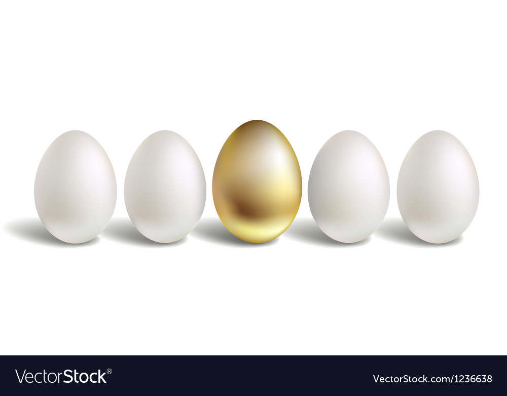 Gold egg concept white and unique golden eggs vector | Price: 1 Credit (USD $1)