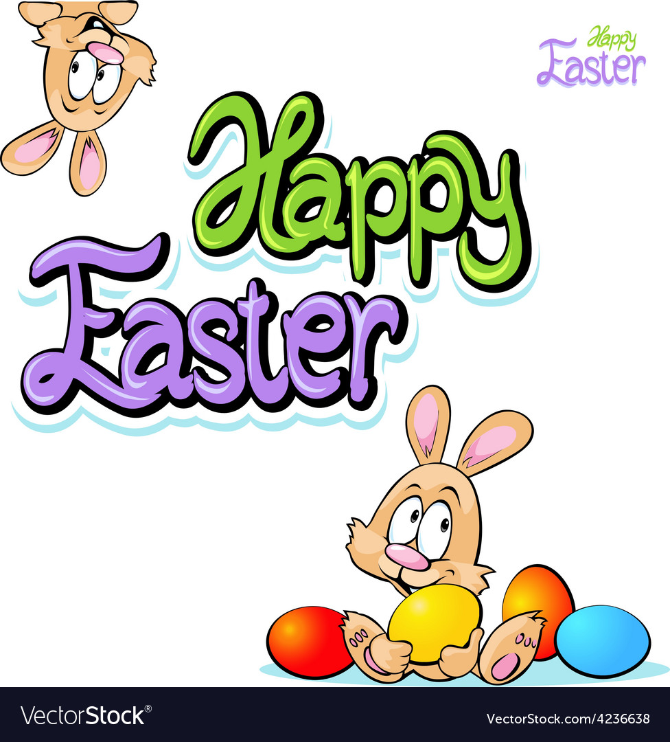 Happy easter text- design with bunny eggs vector | Price: 1 Credit (USD $1)