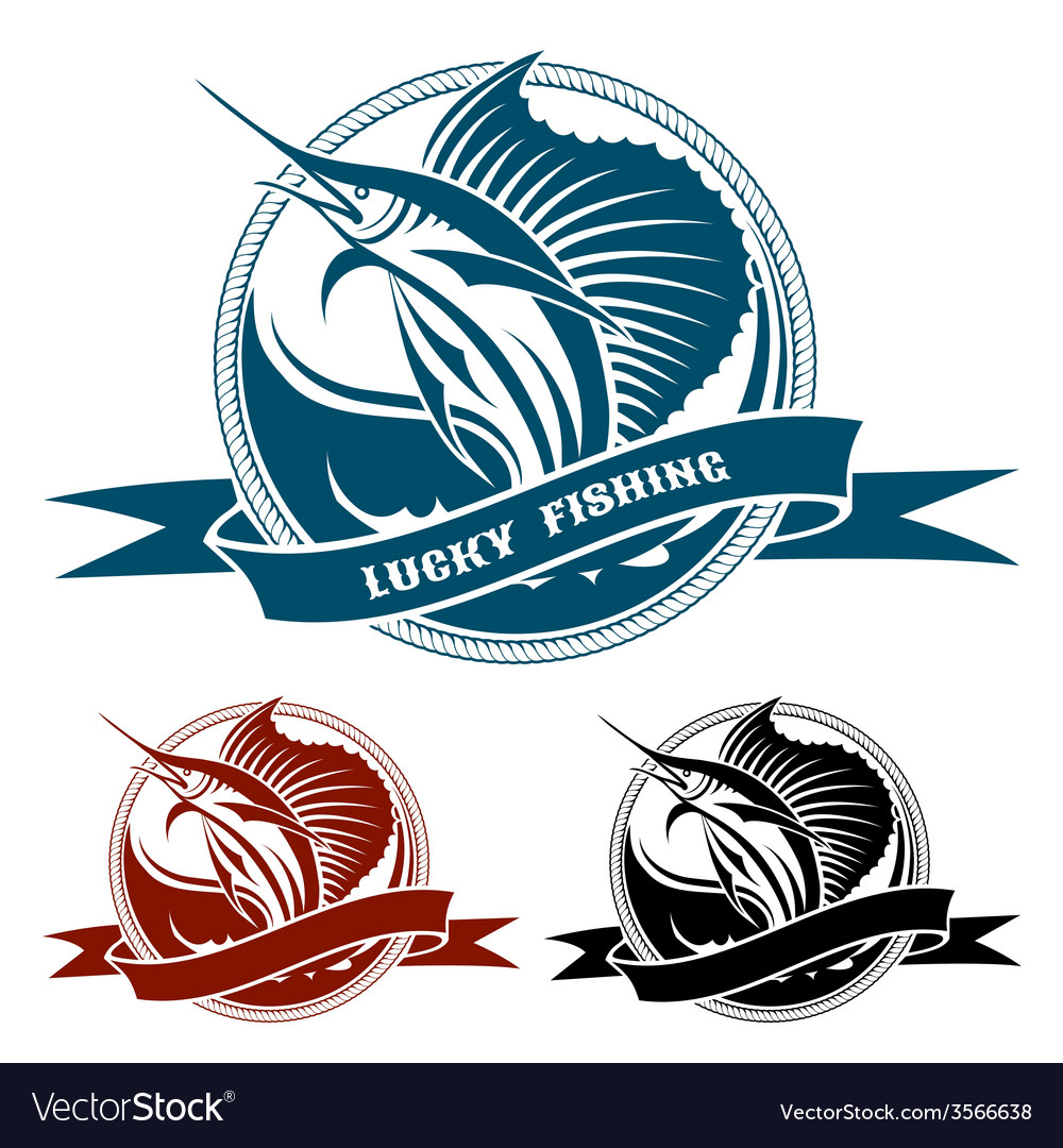 Nautical retro label with jumping sail fish vector | Price: 3 Credit (USD $3)