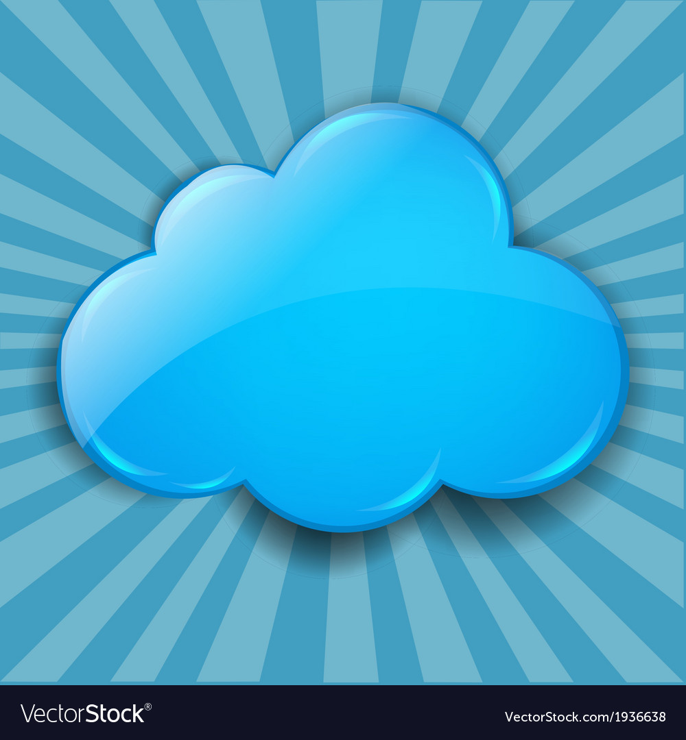 Retro burst background with cloud vector | Price: 1 Credit (USD $1)