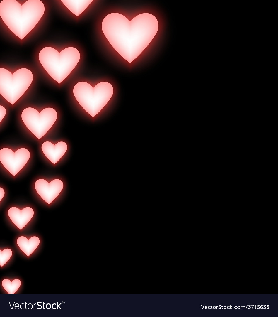 Self-illuminated pink hearts on black vector | Price: 1 Credit (USD $1)
