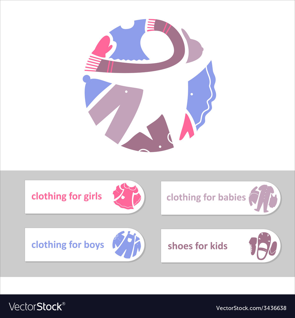 Shop childrens clothing and shoes visual vector | Price: 1 Credit (USD $1)