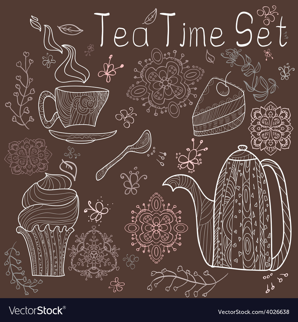Tea time set card vector | Price: 1 Credit (USD $1)