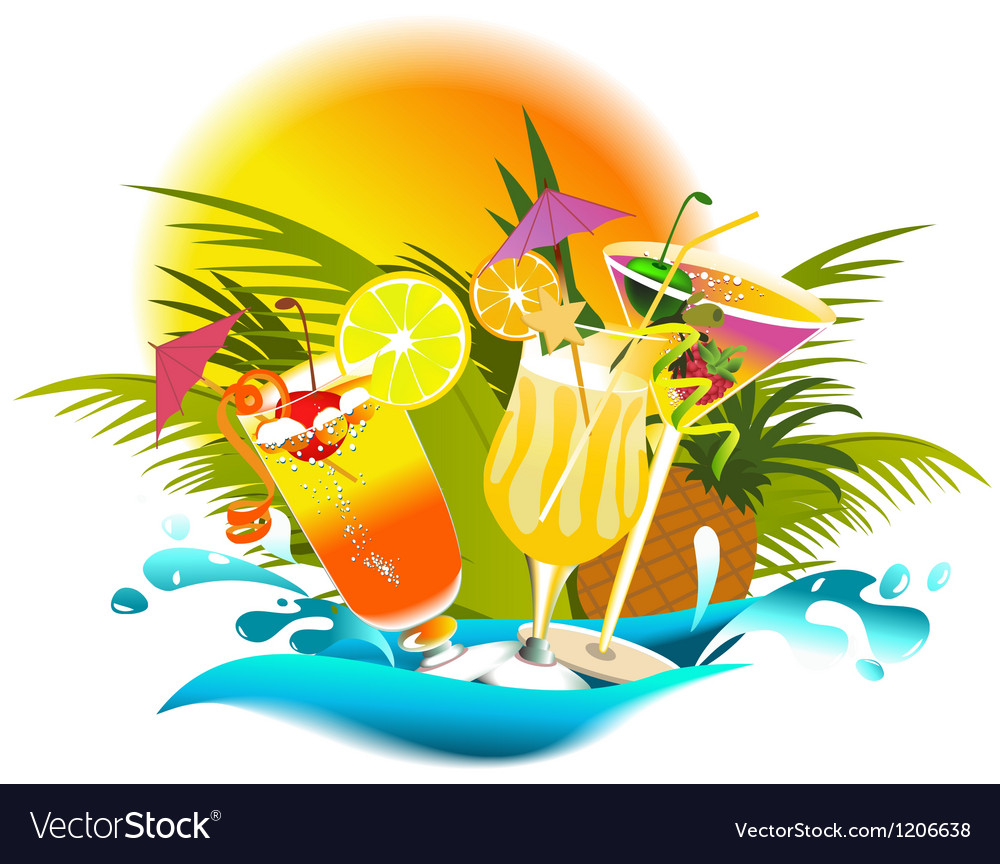 Tropical party drinks vector | Price: 1 Credit (USD $1)