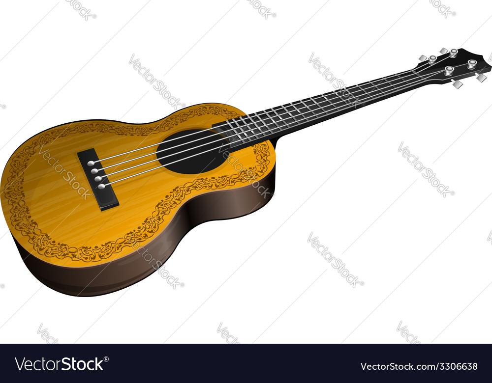 Ukulele with floral border vector