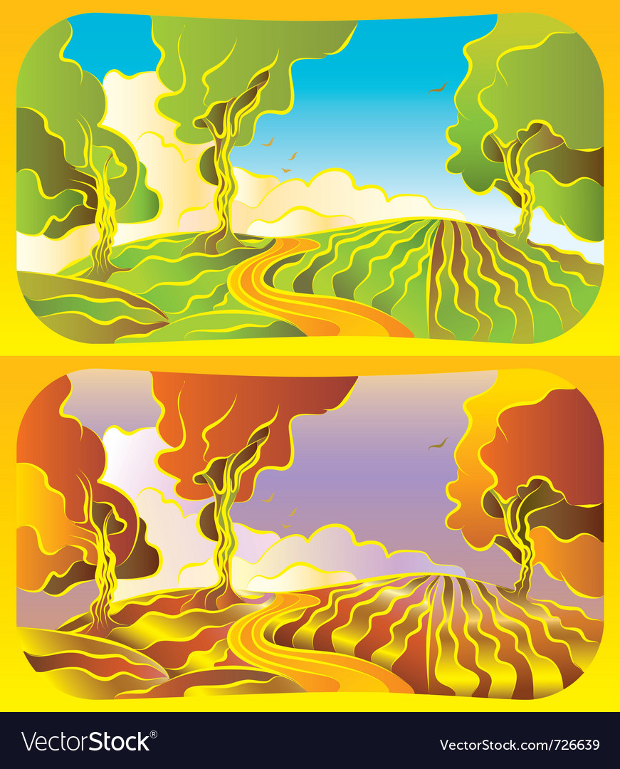 Autumn and summer landscape vector | Price: 1 Credit (USD $1)