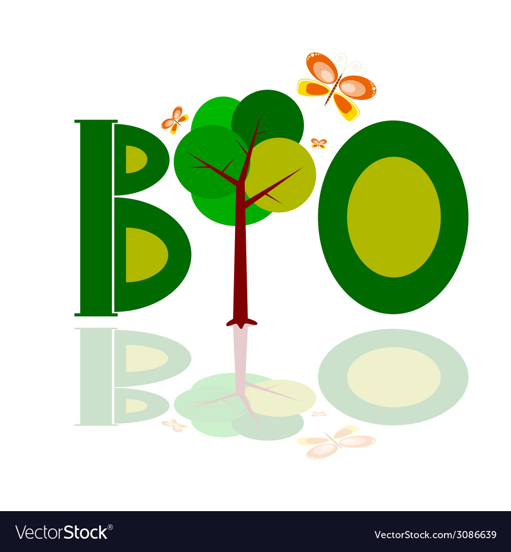 Bio word icon with tree vector | Price: 1 Credit (USD $1)