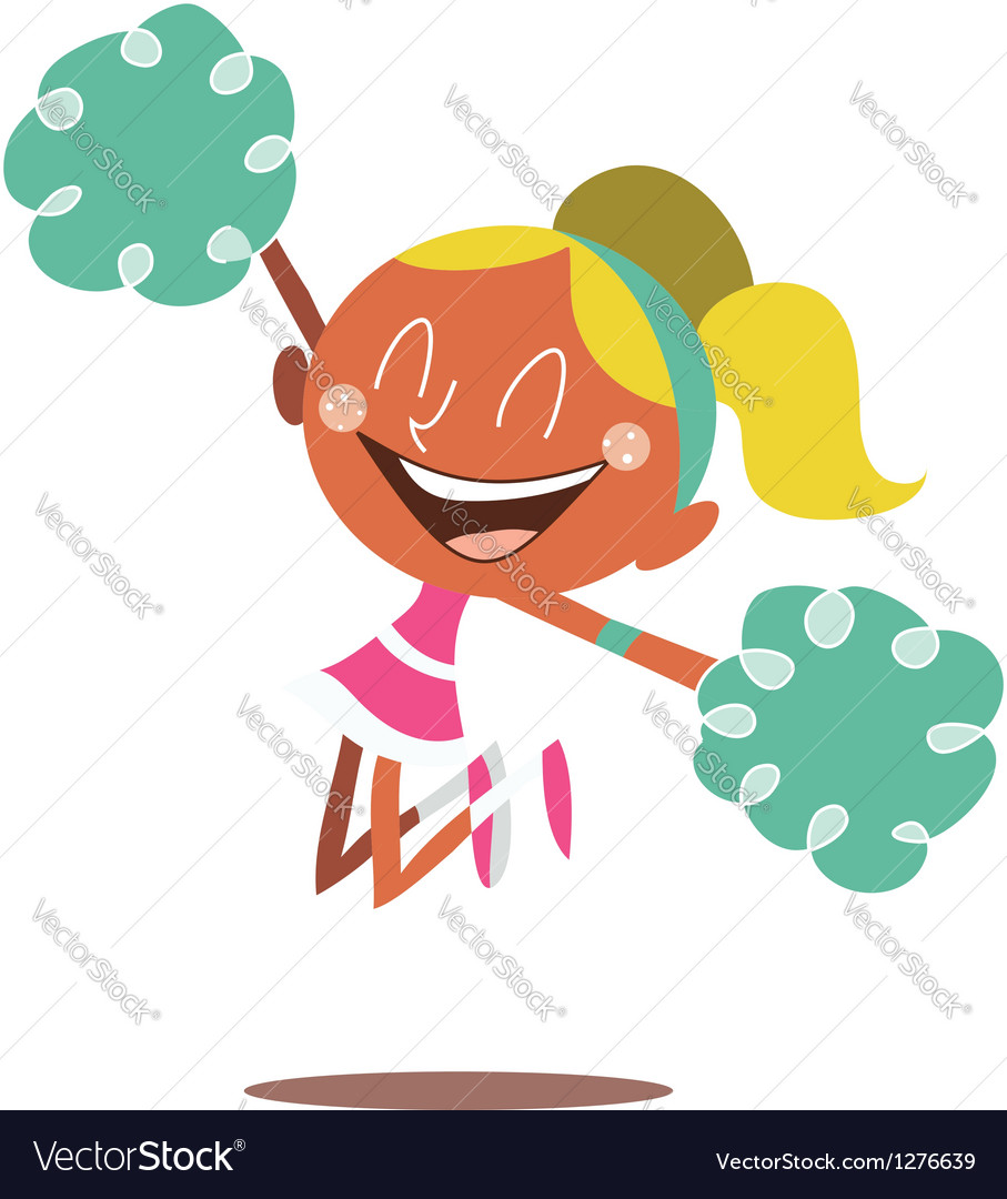 Blond cheerleader jumping and cheering vector | Price: 1 Credit (USD $1)