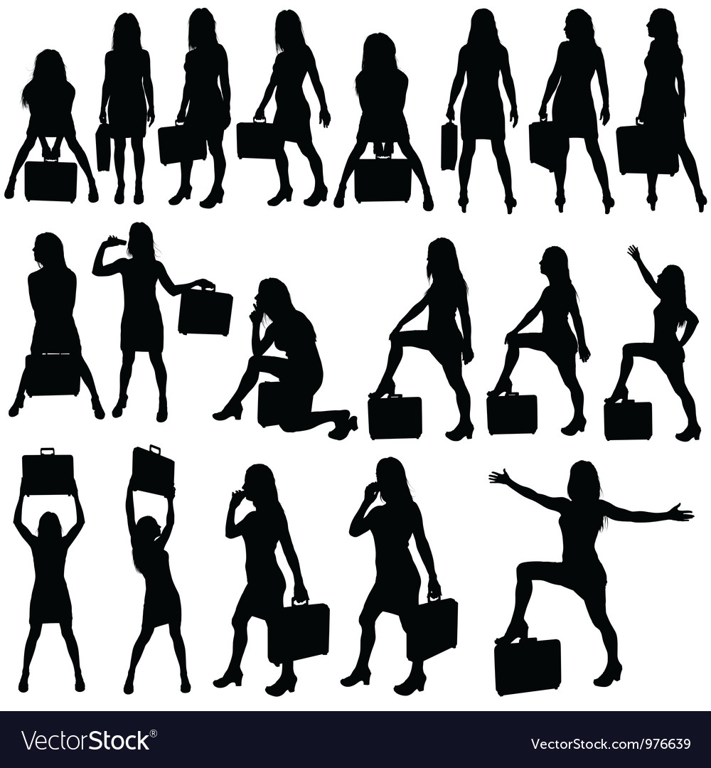 Business woman silhouettes vector | Price: 1 Credit (USD $1)