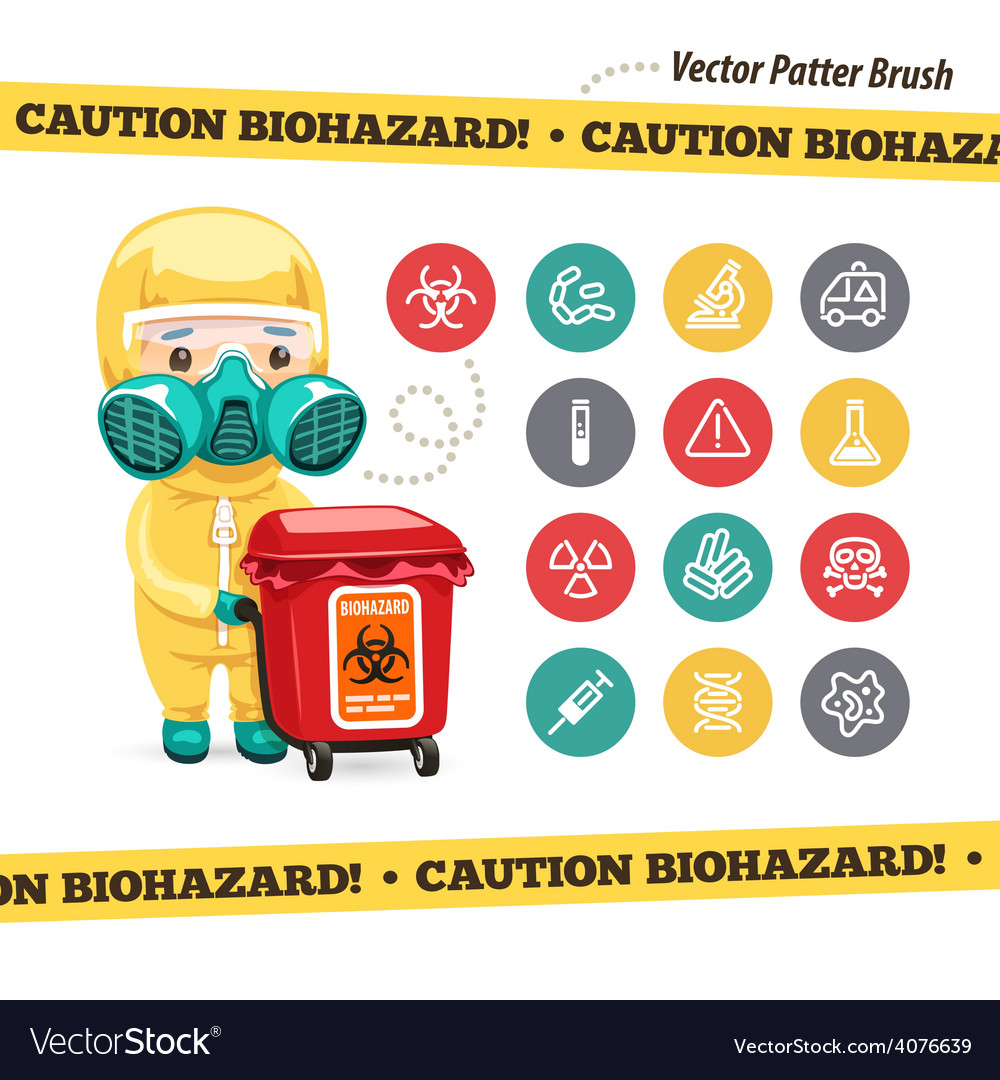 Caution biohazard icons and doctor with red vector | Price: 1 Credit (USD $1)