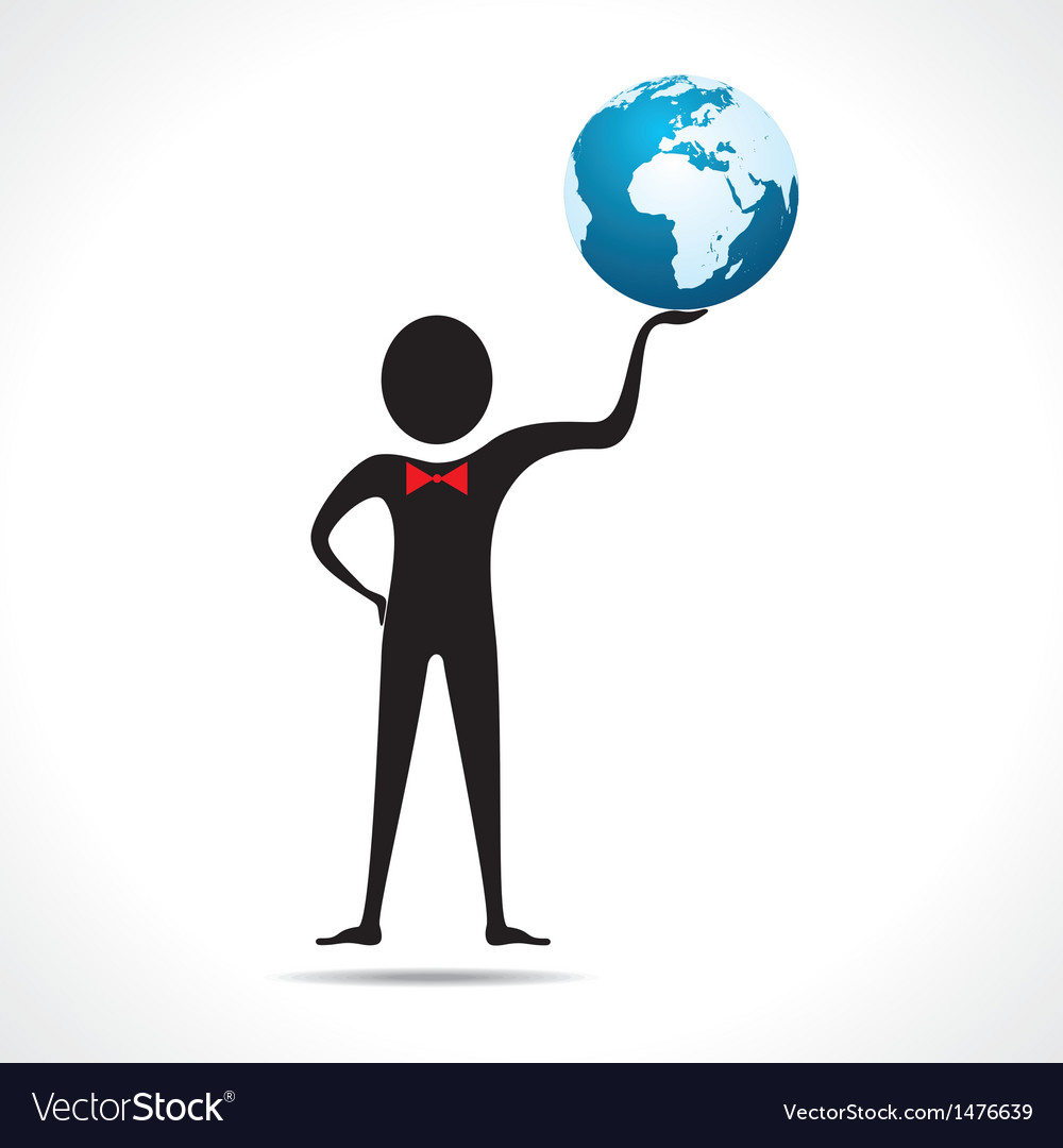 Man holding a globe vector | Price: 1 Credit (USD $1)