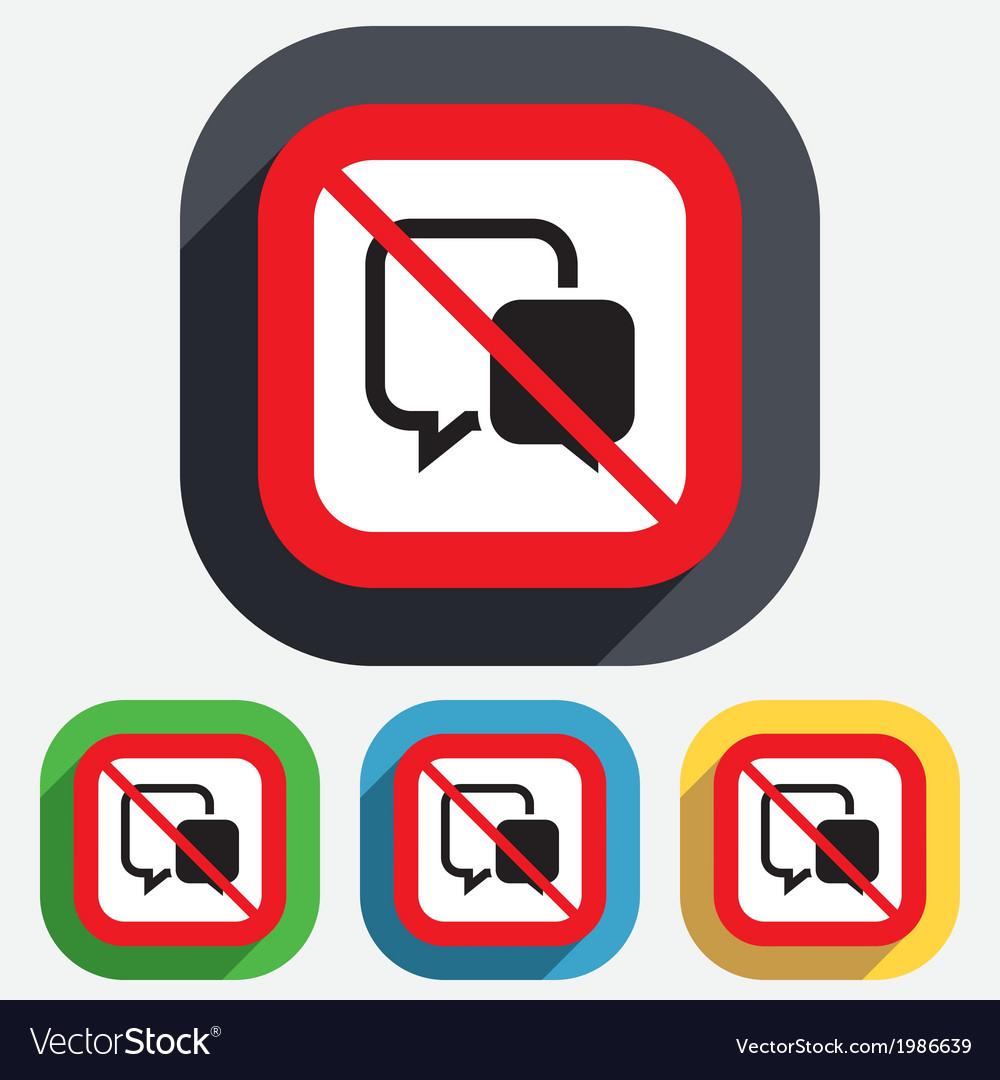 No chat sign icon speech bubble symbol vector | Price: 1 Credit (USD $1)