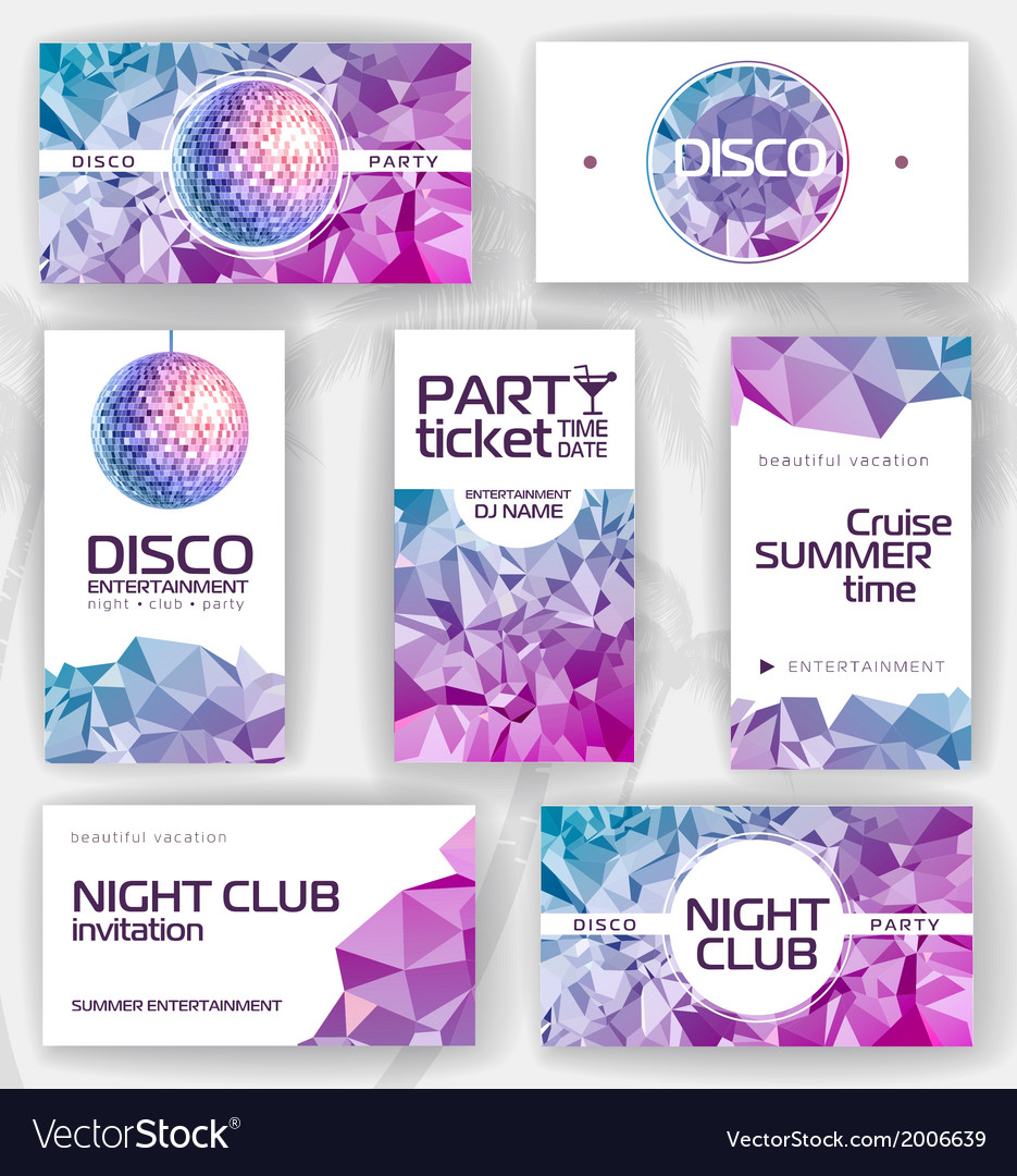 Set of geometric disco visiting card vector | Price: 1 Credit (USD $1)