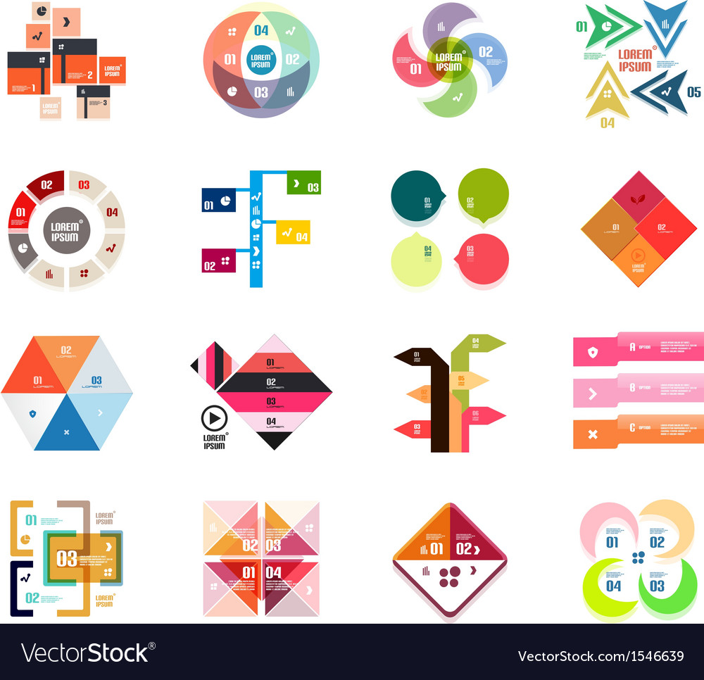 Set of modern infographic design templates vector | Price: 1 Credit (USD $1)
