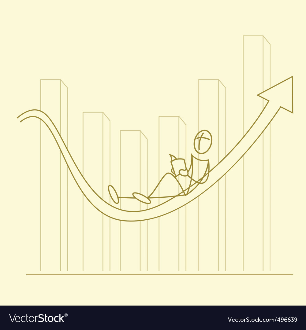 Sketchy businessman on graph vector   Price: 1 Credit (USD $1)