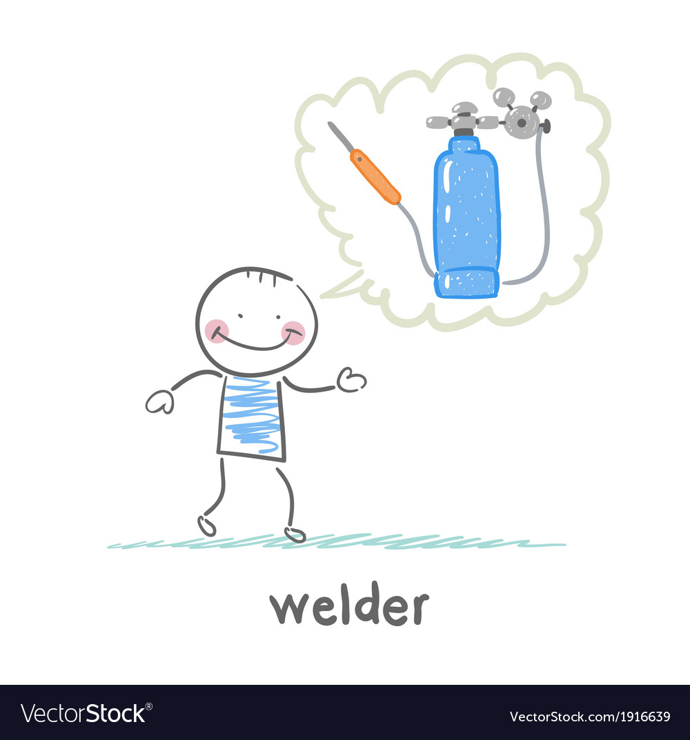 Welder thinks about the welding machine vector | Price: 1 Credit (USD $1)