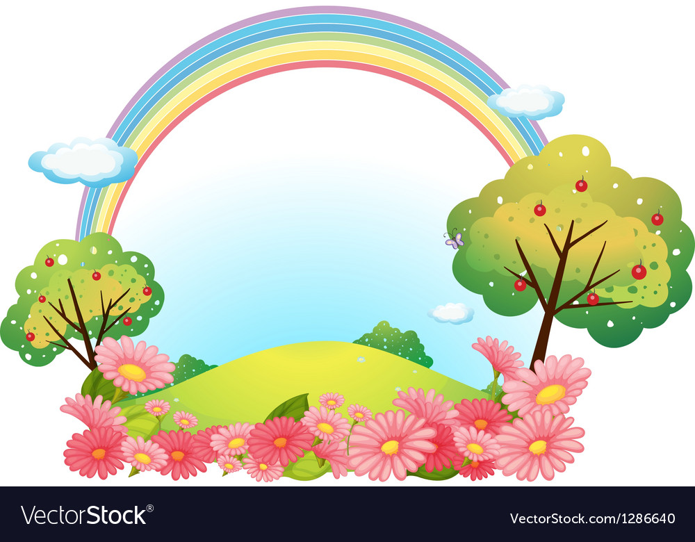 A hill with flowers and trees vector | Price: 1 Credit (USD $1)