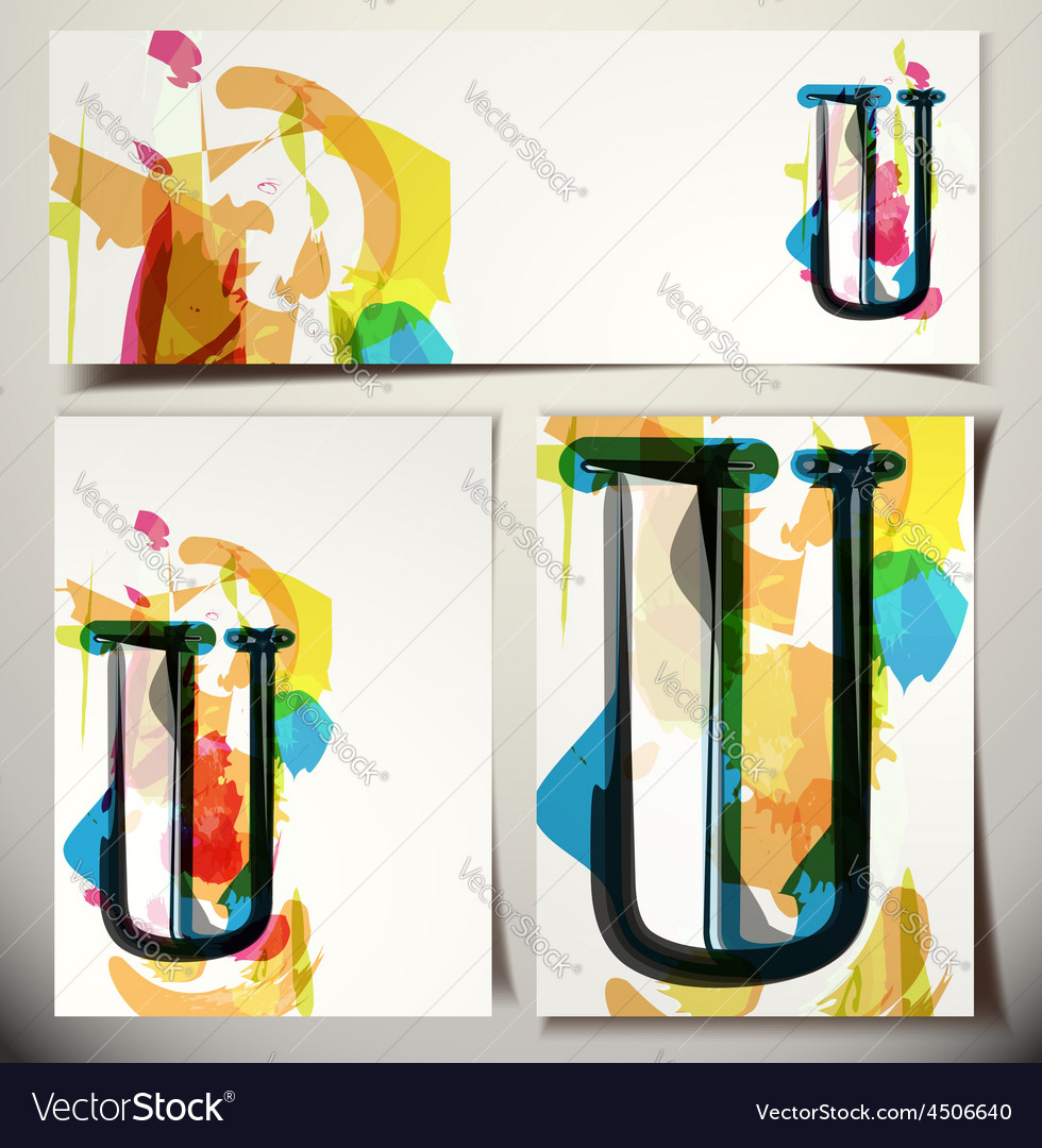 Artistic greeting card letter u vector | Price: 1 Credit (USD $1)