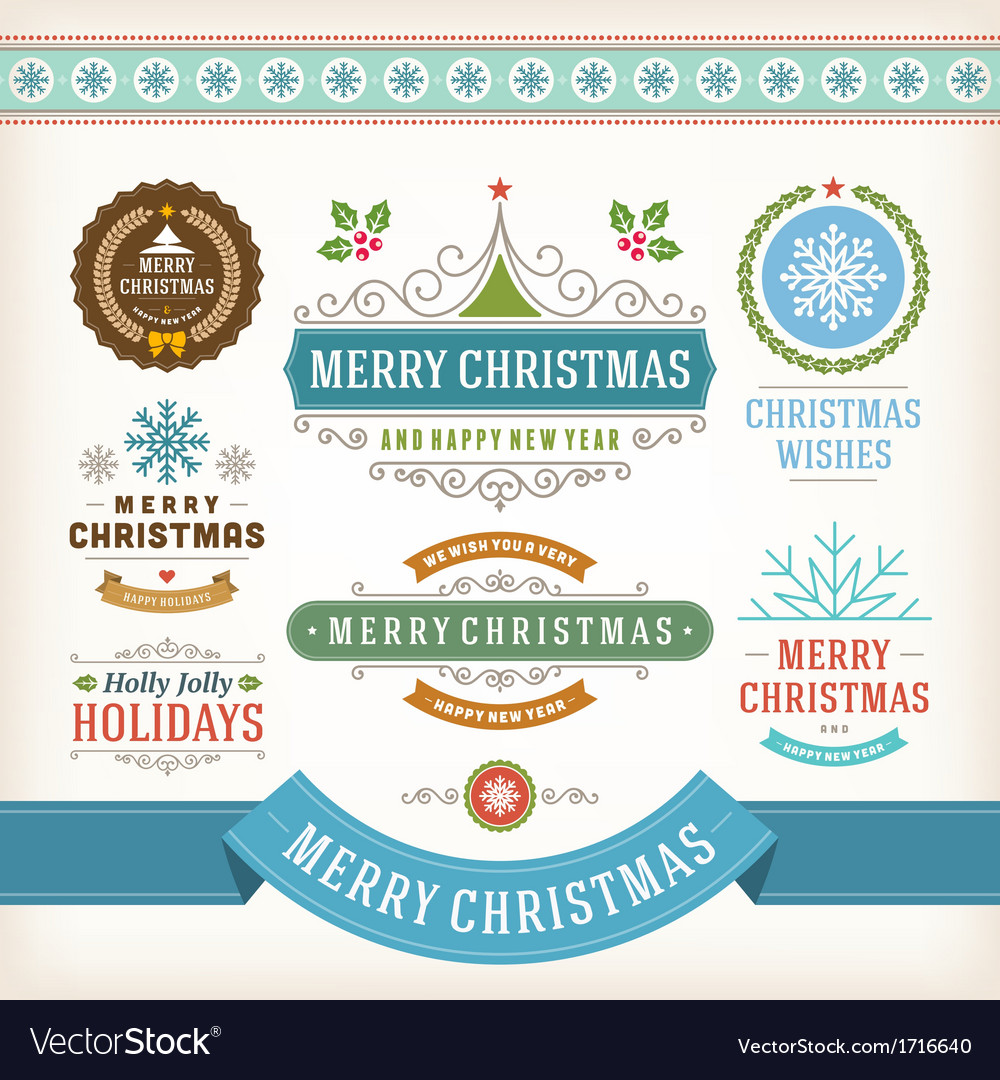 Christmas decoration design elements vector | Price: 1 Credit (USD $1)