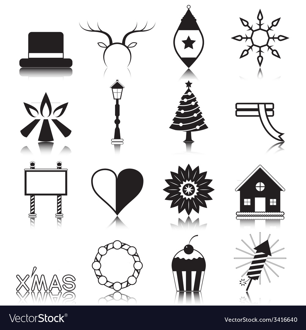 Christmas with reflection icon set vector | Price: 1 Credit (USD $1)