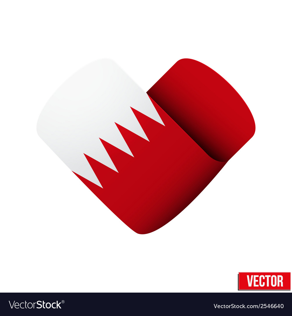 Flag icon in the form of heart i love bahrain vector | Price: 1 Credit (USD $1)